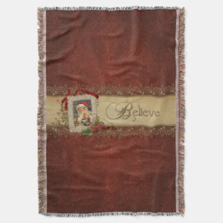 Vintage Santa with Poinsettia and Gold Lace Throw Blanket