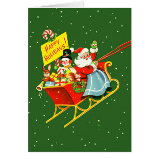 Vintage Santa with Sleigh Christmas Card