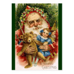 Vintage Santa with Teddy and Dolls Post Card