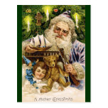 Vintage Santa with Teddy and Ship Post Card