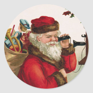 Vintage Santa with Toys on Antique Telephone Classic Round Sticker