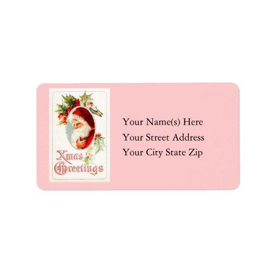 Vintage Santa Xmas Greetings Address Label