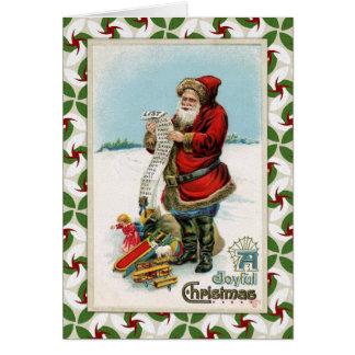 Vintage Santa's List Card