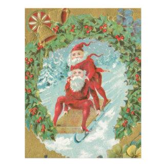Vintage Santas Sledding Letterhead Template