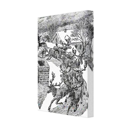 Vintage Santa's Sleigh Illustration Gallery Wrapped Canvas