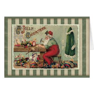 Vintage Santa's Workshop Christmas Card