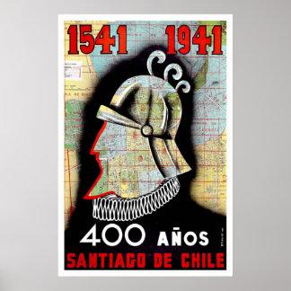 Vintage Santiago Chile Travel Poster