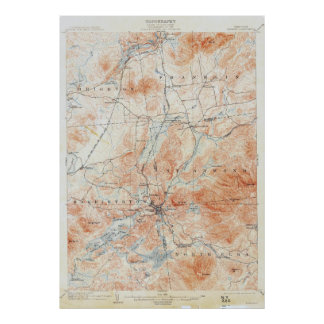Vintage Saranac New York Topographical Map Poster