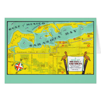 Vintage Sarasota Map Card