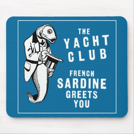 Vintage Sardine Fish Yacht Club Advertisement Mousepads