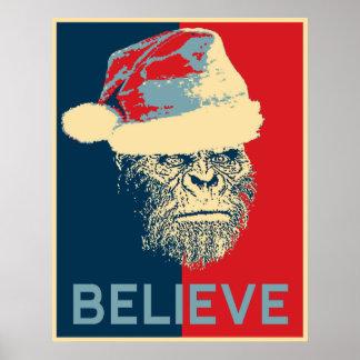"Vintage Sasquatch/Bigfoot Santa ""BELIEVE"" Poster"