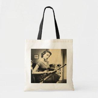 Vintage Sassy Secretary Lady Rifle Gun Tote Bag