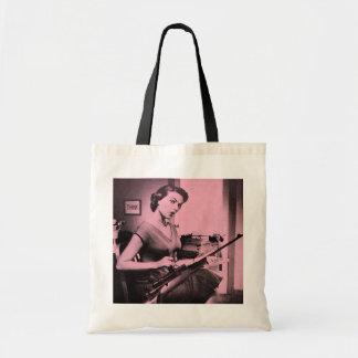 Vintage Sassy Secretary Rifle Gun Tote Bag (Pink)