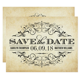 Vintage Save the Date Card | Elegant Flourish
