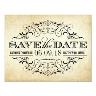 "Vintage Save the Date Card | Elegant Flourish 4.25"" X 5.5"" Invitation Card"
