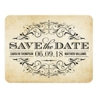 Vintage Save the Date Card | Elegant Flourish Custom Invitations