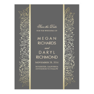 Vintage Save the Date -Gold Baby's Breath Filigree Postcard