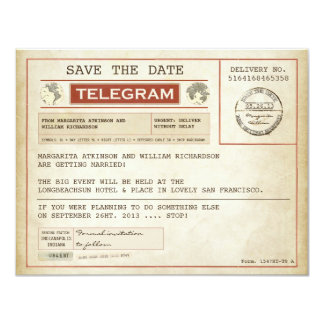 "vintage save the date old telegrams 4.25"" x 5.5"" invitation card"