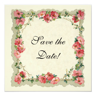 """Vintage Save the Date, Pink Flowers Floral Roses 5.25"""" Square Invitation Card"""