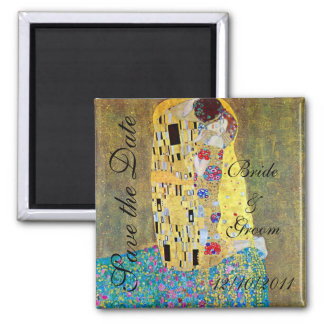 Vintage Save the Date! The Kiss by Gustav Klimt Square Magnet