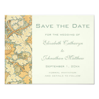 Vintage Save the Date William Morris Floral Flower Card