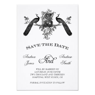 "Vintage Save the Date with Monogram Peacocks 5"" X 7"" Invitation Card"