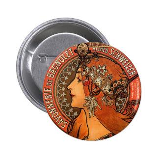 Vintage Savonnerie de Bagnolet by Alfons Mucha 2 Inch Round Button