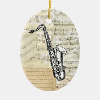 Vintage Saxophone Music Ornament