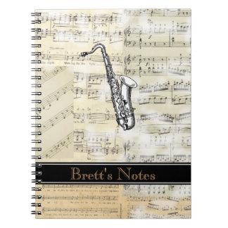 Vintage Saxophone Music Spiral Notebook