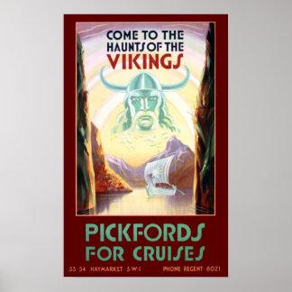 Vintage Scandinavia Vikings Cruise Travel Poster