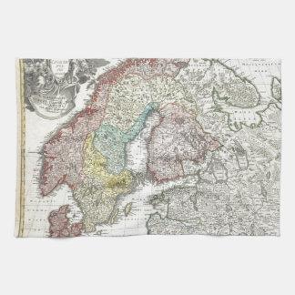 Vintage Scandinavian Map Kitchen Towel