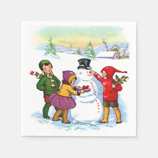 Vintage scene Christmas Holiday paper napkins