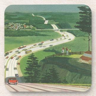 Vintage Scenic American Highways, Cars Road Trip Drink Coasters