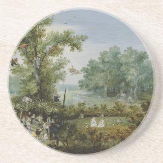 Vintage scenic painting coasters
