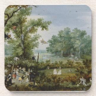 Vintage scenic painting drink coasters