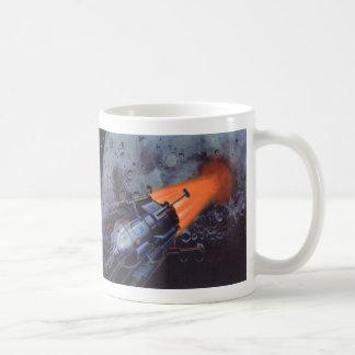 Vintage Sci Fi, Rocket Blasting Off Moon Planet Mug