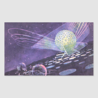 Vintage Science Fiction, a Glowing Orb with Aliens Sticker