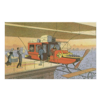 Vintage Science Fiction Airplane Helicopter Limo Poster