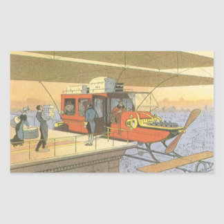Vintage Science Fiction Airplane Helicopter Limo Sticker