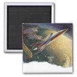 Vintage Science Fiction Airplane Spaceship Earth Fridge Magnet