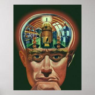 Vintage Science Fiction, Alien Brain in Laboratory Poster