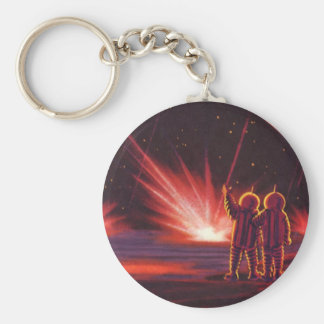 Vintage Science Fiction Alien Red Planet Explosion Basic Round Button Keychain
