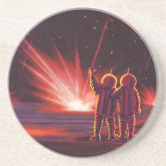 Vintage Science Fiction Alien Red Planet Explosion Beverage Coaster