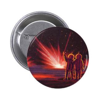 Vintage Science Fiction Alien Red Planet Explosion Button