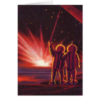 Vintage Science Fiction Alien Red Planet Explosion Greeting Cards