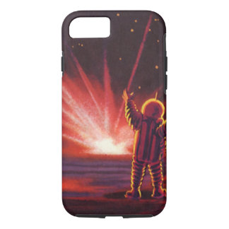 Vintage Science Fiction Alien Red Planet Explosion iPhone 7 Case