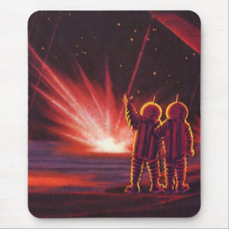 Vintage Science Fiction Alien Red Planet Explosion Mouse Pad