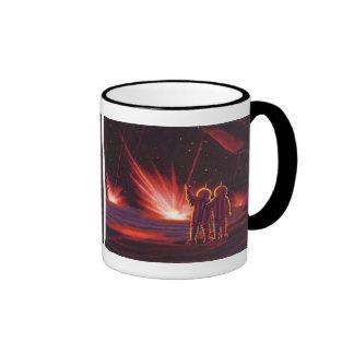 Vintage Science Fiction Alien Red Planet Explosion Ringer Coffee Mug