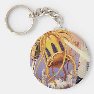 Vintage Science Fiction Alien War Invasion Octopus Basic Round Button Keychain