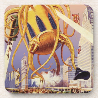 Vintage Science Fiction Alien War Invasion Octopus Coaster